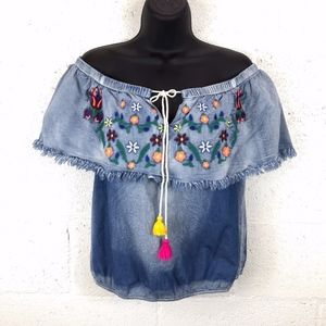 PASTEL Off The Shoulder Embroidered Chambray Top